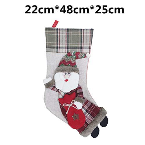 Mydufish Christmas Stocking Plaid Santa Claus Sock Gift Bag Kids Xmas Noel Decoration Ca ()