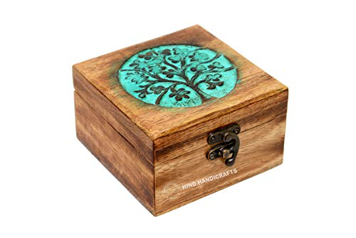 Antique Handmade Wooden Urn Tree of Life Engraving Handcarved Jewellery Box for Women-Men Jewel | Home Decor Accents | Decorative Boxes | Storage & Organiser (4