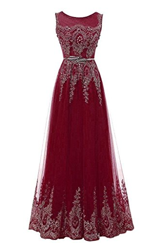 Zechun Z67burgundy1 Gown Lace Womens Evening Prom Gold Homecoming Applique Dresse 77ZwO6