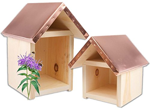 (Farmstand Supply Pollinator Native Bee Spring Mason Bee Summer Leafcutter Copper Top House (Small) Made in The USA)