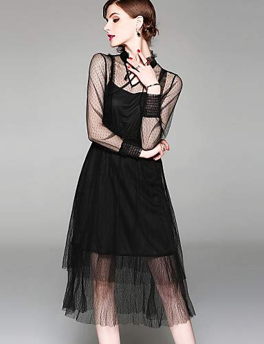 YFLTZ Elegante tinta Maglia abito dalla Stringata linea chic Street da unita sofisticata Black donna rrfq6xCw