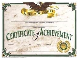 Hayes Certificates - Certificate Of Achievement