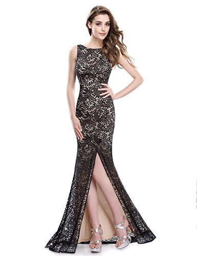 Ever-Pretty Womens Long Lace Military Ball Gown 8 US Black