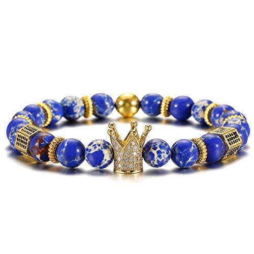- SHIWE 8MM King Crown Beads Bracelets for Men Women Matte Agate Natrual Stone Beaded Bracelet,Gift for Father's Day