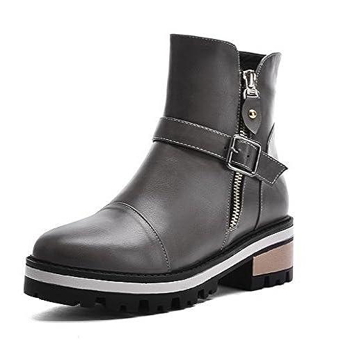 Women's Solid Kitten-Heels Round Closed Toe PU Zipper Boots Gray 35