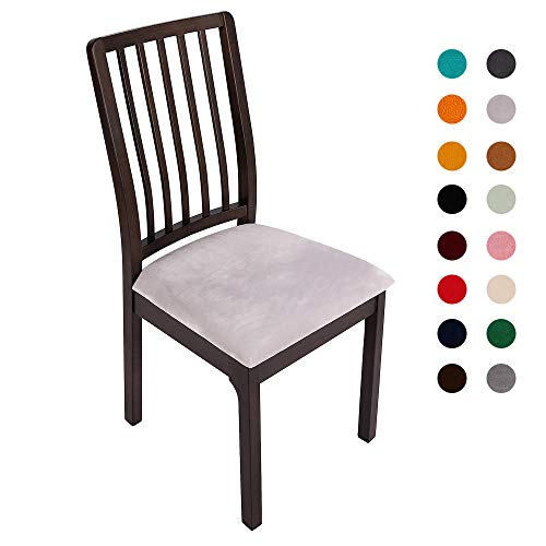 Soft Velvet Stretch Fitted Dining Chair Seat Covers, Removable Washable Anti-Dust Dining Room Upholstered Chair Seat Cushion Cover Kitchen Chair Protector Slipcovers with Ties – Set of 6, Light Grey