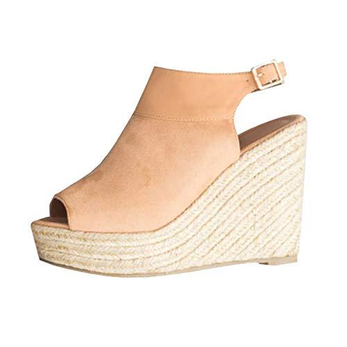 Donna Moda Sandali Eleganti B Corda Beige con Zeppe Sandali Minetom Cinturino Estivi Intrecciato Sandali Caviglia Piattaforma Espadrillas alla Donna q1EAEwav
