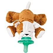 Nookums Paci-Plushies Bull Dog Shakies - Pacifier Holder and Rattle (2 in 1) (Plush Toy Includes Detachable Pacifier, Use with Multiple Brand Name Pacifiers)