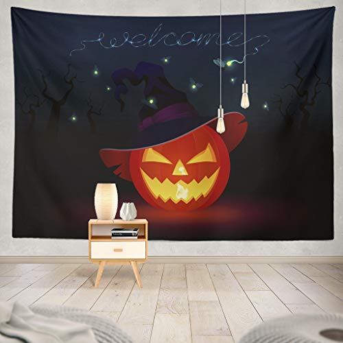 KJONG Carved Pumpkin with Tattered Witch Hat Face Magical Character Night Blue Welcome Invitation Halloween PumpkinDecorative Tapestry,50X60 Inches Wall Hanging Tapestry for Bedroom Living Room ()
