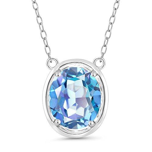 (Gem Stone King 2.70 Ct Oval Millennium Blue Mystic Quartz 925 Silver Pendant With Chain)