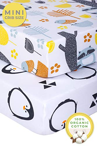 (Pickle & Pumpkin Graco Pack n Play Mattress Sheet | 100% Organic Cotton Mini Crib Sheets 2 pack | Girls & Boys | Playard Sheets for Portable Cribs, Pack and Play Mattress, Playpen | Woodland & Penguin)