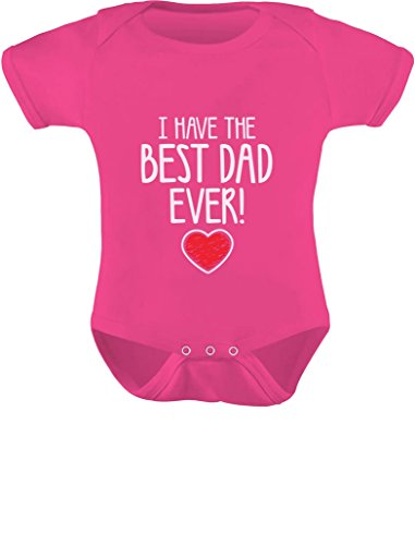 Price comparison product image Tstars I Have The Best Dad Ever! Fathers Valentine's Day Gift Cute Infant Baby Bodysuit Newborn Wow Pink