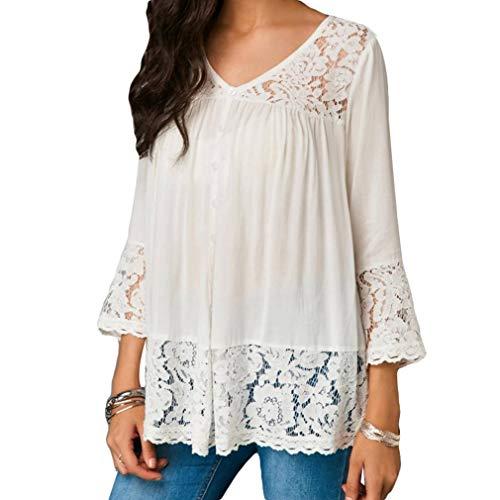 T-Shirt Donna Estiva Cuciture Pizzo T-Shirt Donna Scollo Tondo Camicia Maniche Lunghe Bottoni Moda Casual Tinta Unita Bottoni Camicia 7 Colori Bianco