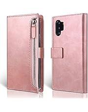 MOLAN CANO Samsung Galaxy Note 10 Plus/5G Hülle, Premium Leder Brieftasche mit Reißverschlusstasche, Kartenfächern, Bargeldfach und Magnetverschluss Buchgestaltung Flip Folio Tasche