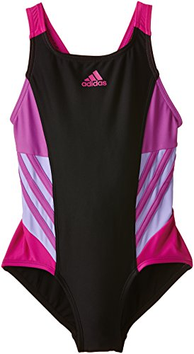 adidas Mädchen Badeanzug Infinitex Inspiration, black/flash pink S15/light flash purple S15/bold pink, 140, AB6991