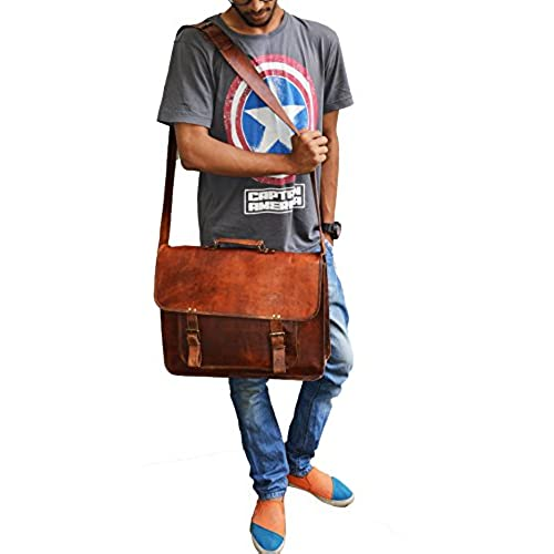 "18/"" Large Leather MESSENGER bag for men shoulder bag mens Laptop BRIEFCASE bag"