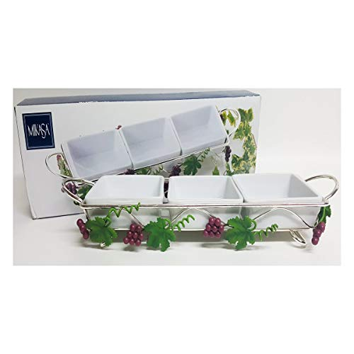 Mikasa Grapevine Porcelain 3 Dish Server with Silver Plated Stand LP026/345