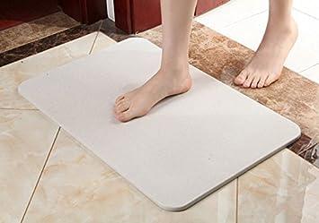 Bath Mat, Absorbent Diatomaceous Earth, Antibacterial Deodorant Nonslip Bathroom  Floor Mats Dehumidify,remove