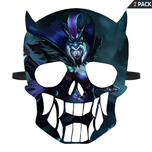 LCCKSS League of Legend Leblanc Halloween Mask 2 Pack Cool Graphics Masks for Adult and Kids White]()