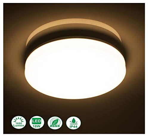 (Ceiling Light LED Flush Mount Fixture Lighting Airand 3000K 18W 9.5'' Round Warm White LED Ceiling Lamps with 120Pcs LED Chips for Bathroom, Bedroom, Hallway, Living Room, Dining Room, Balcony)