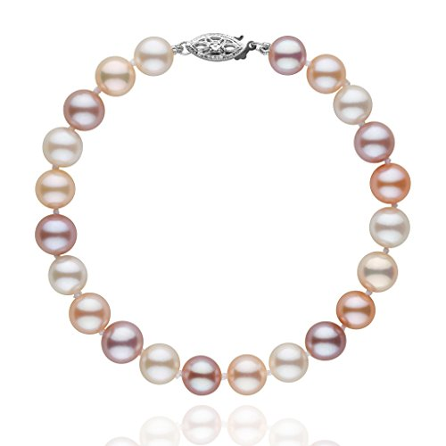 7.5-8.0 mm Multicolor Freshwater AAA Cultured Pearl Bracelet - 7 inch - 14K White Gold (Color Pearl Multi Bracelet)