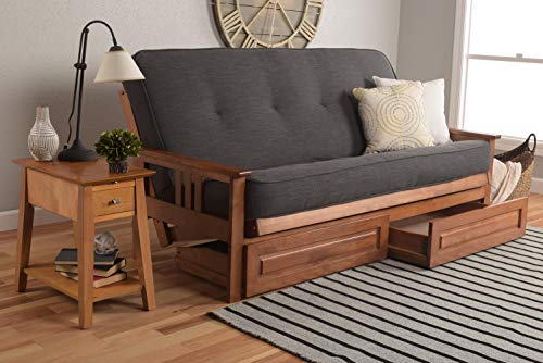 Kodiak Furniture KFMODBBLCHALF5MD4 Monterey Futon Set with Barbados Finish and Storage Drawers, Full, Linen Charcoal