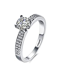 Women Wedding Engagement Rings 18K Gold Plated Cz Diamonds Bands Solitaire Princess Cut Promise Anniversary Bridal Jewelry Infinity Love for Her, 6-9