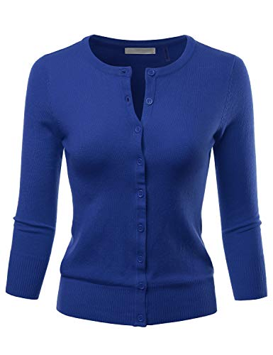 LALABEE Women's 3/4 Sleeve Crewneck Button Down Knit Sweater Cardigan RoyalBlue L ()