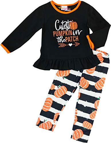 Little Girls Halloween Cutest Pumpkin in The Patch Legging Set 12-18/XXS
