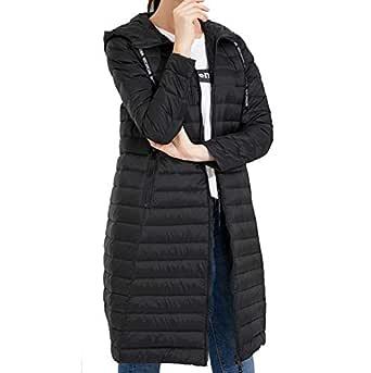 Womens Autumn Long Jacket - Water Resistant Rain Coat, Lightweight Ladies Jacket, 2 Front Pockets, Warm - for Wet Weather, Walking,Black,M