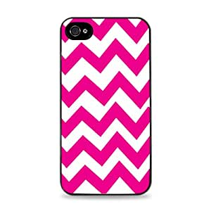 Pink And White Chevron Stripes Black Designer Protective Case Cover for Apple iPhone 4 / 4S