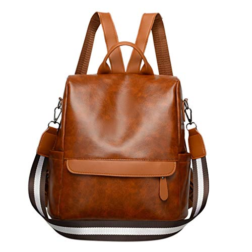RQWEIN Women Backpack Purse Vintage Washed Leather Rucksack Shoulder Bag Casual Travel Daypack Large Capacity Satchel