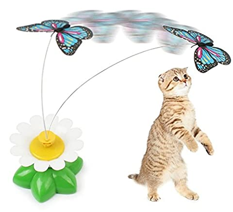 Electric Rotating Colorful Butterfly Funny Pet Cat Toys Cat Kitten Playing Toys Pet Seat Scratch Toy Garden Decoration (Cheap Butterfly Stuff)