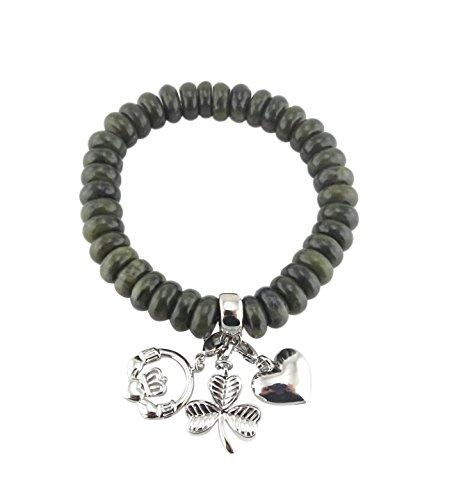 Beaded Bracelet Irish (Irish Connemara Marble: Beaded with 3 Sterling Irish Charms Bracelet)