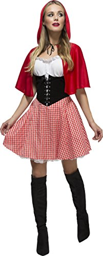 Smiffy's Women's Fever Red Riding Hood Costume, Dress and Hooded Cape, Once Upon a Time, Fever, Size 6-8, 38490
