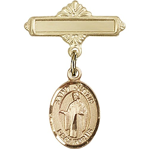 14kt Yellow Gold Baby Badge with St. Justin Charm and Polished Badge Pin 1 X 5/8 inches by Unknown