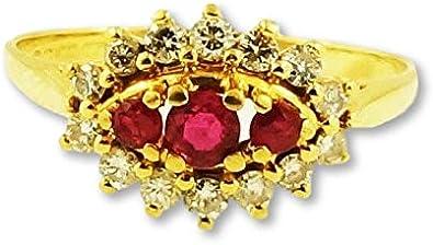 bague or jaune 18 carat avec rubis
