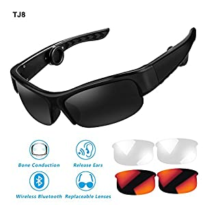 Bone Conduction Headphones Sunglasses,TJ8 Bone-Conducting Wireless Bluetooth Headset polarized Glasses with Mic for Drivers,Outdoor Cyclist and Elderly People with Hearing Impairment