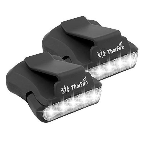 Thorfire Cap Hat Light 5-LED Headlamp Rotatable Ball Cap Visor Light Clip-on Hat Light Hands Free for Hunting Camping Fishing (Pack of 2) -