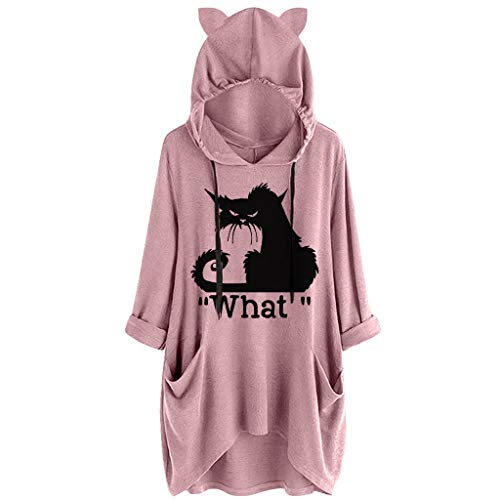 Quartly WomenLetters Printing Cat Ear Hooded Roll up Long Sleeves Pocket Top Sweatshirt Tunic Blouse Hoodie Pullover - Inch Hi 32 Boy Tv