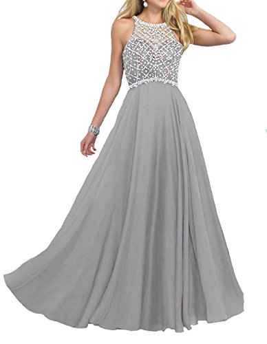 Firose Women's Scoop Neckline Beaded Long Chiffon Prom Dresses For 2018 Silver US8