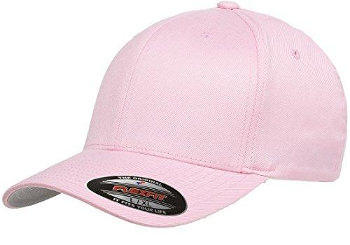 Pro Cotton Cap - Original Flexfit Wooly Cotton Twill Cap 6277, Stretch Fit Baseball Cap w/Hat Liner L/XL Pink