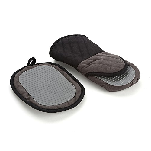 Good Cook Touch High Temp Oven Mitt Pot Holder Set with Silicone Grip (2 Pack), Gray