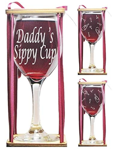 Daddy's Sippy Cup 360 Degrees Engraved Wine Glass with Charm