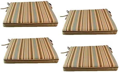 Edenjardi Pack 4 Cojines para sillas y sillones de jardín Color Lux Estampado a Rayas, Tamaño 44x44x5 cm, Repelente al Agua, Desenfundable: Amazon.es: Jardín