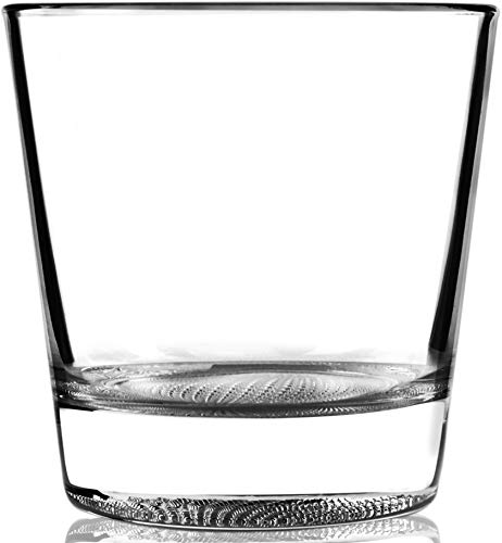 Circleware 45041 Tudor Double Old Fashioned Whiskey Glasses, Set of 4 Kitchen Drinking Glassware for Water, Juice, Ice Tea, Beer, Wine and Bar Barrel Liquor Dining Decor Beverage Gifts, 12.5 oz, DOF