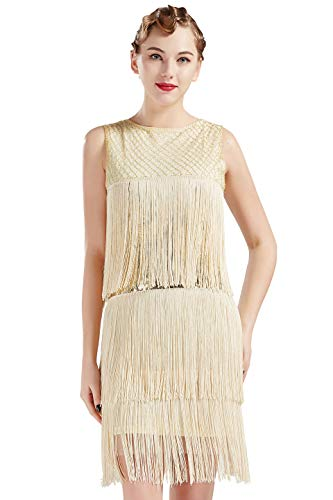 BABEYOND 1920s Flapper Dress Long Fringe Gatsby Dress Roaring 20s Sequins Beaded Dress Vintage Art Deco Dress (Beige, X-Large) -