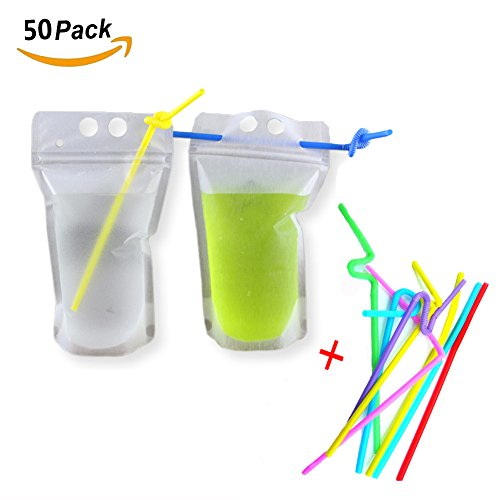 Smilyard 50pcs Drink Bags Reclosable Zipper Stand-Up Plastic Pouches Bags Heavy Duty Hand-held Translucent Drinking Bags with Drinking Straw