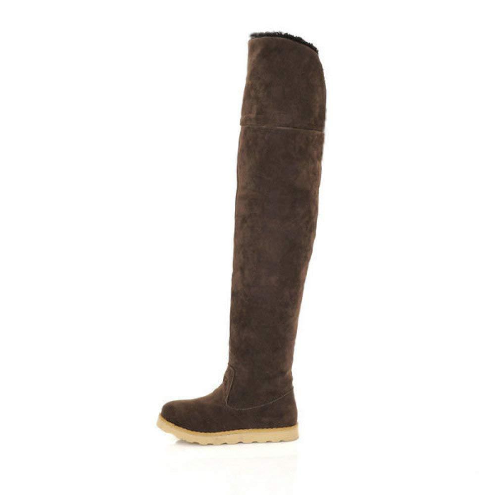 XQY Damenstiefel - - - Winter Warme Stiefel Damenstiefel   Über Die Knie Stiefel Flache Rutschfeste Stiefel 34-39 e69ee3