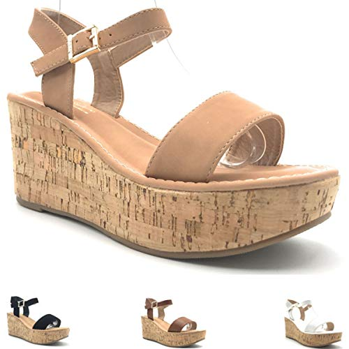 DBDK Medium Heel Summer Fashion Cork Wedge Platform Sandal Adjustable Ankle Strap Women's Shoes~Shoe West~ Nude 7 M US